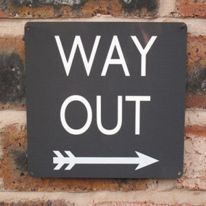 Way Out Sign 20x15cm   Black