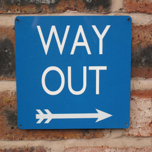 Way Out Sign 20x15cm | Blue