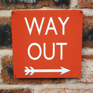 Way Out Sign 20x15cm | Red