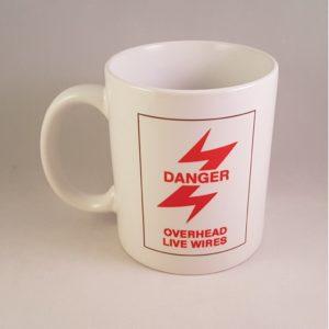 Danger Overhead Live Wires Mug